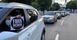 Manifestantes fazem carreata contra Bolsonaro e a favor da vacina da Covid-19 em Goiânia